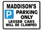 MADDISON'S Personalised Parking Sign Gift | Unique Car Present for Her |  Size Large - Metal faced
